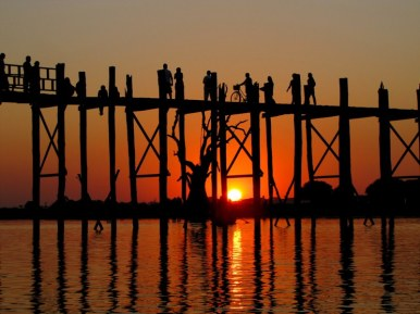 U Bein teak bridge at sunset