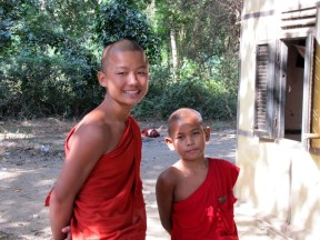 Novice monks at a monastery in Mingon