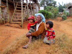 Grandmother and grandkids, near Kalaw