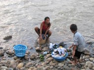 Wash day in the Ecuadorian Amazon