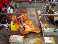 Last pig head...big seller at the market