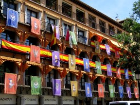 Flags to celebrate Feast of Corpus Christi, Toledo