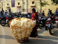 Selling papadum, similar to a cracker.