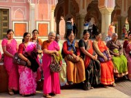Lovely ladies posing for us at City Palace, Jaipur.