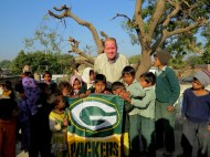 Visiting a grade school in Ramsinghpura Village. Who knew the children there were such huge Packers fans.