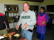 I'm giving our group a lesson on making proper chapati!