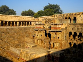 Chand Balri Stepwell, built in the 8th to 9th century. The steps go down and down to a well at the bottom.
