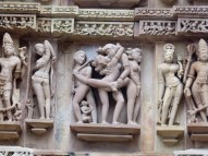 Erotic carving at the Khajuraho temples.