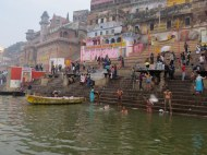 Pilgrims bathing in the Ganges River.
