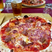 Pizza and beer after a long day, Pienza