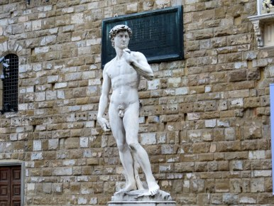Reproduction of Michelangelo's David in the Piazza della Signoria, Florence