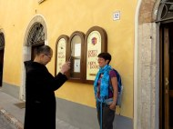 One of the Monks at St. Benedict's Monastery taking a photo of our trip leader with his iPhone. The church is quite progressive these days. Norcia