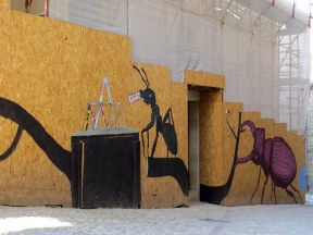 Artwork covering some renovations in Trevi