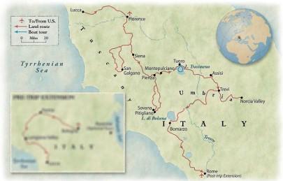 Tour map - Tuscany & Umbria: Rustic Beauty in the Italian Heartland