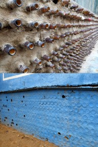 Beer bottle wall at a little bar/grocery in Damaraland