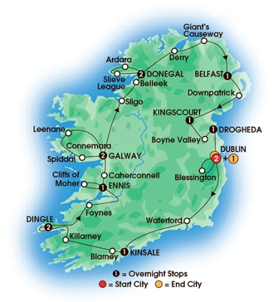 Our Tour Map - Jewels of Ireland