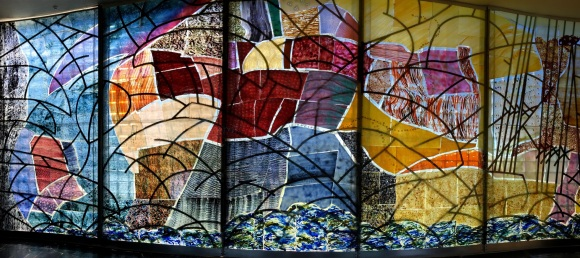 Stained glass mural at Blasket Centre. Learning about the people who used to live on Blasket Island was fascinating.