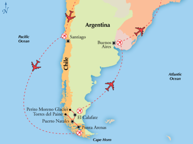 Trip Map - Chile & Argentina with Patagonia's Glaciers