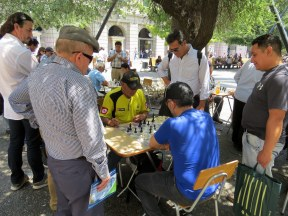 Playing chess at the Plaza de Armas, Santiago
