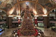 Just your basic mall Christmas Tree sitting under basic mall frescos. At Galerías Pacífico, Buenos Aires