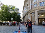 The bubble man of Prague. Got to make a living somehow.