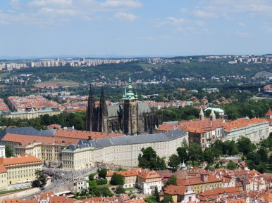 View of Prague Castle and St. Vitus Church from Petrin Tower