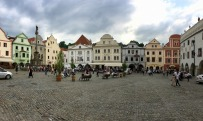 Town Square, Cesky Krumlov. Our hotel is in the middle of the photo.