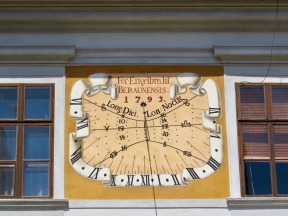 Lunch stop in Trebon. We saw many sun dials like this on the trip.