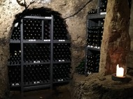 Wine cellar at the hotel in Slavonice. It was in tunnels under the city from the 16th century.
