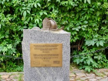 Memorial in honor of the fire fighters who died on 9-11 placed by the Prague Fire Department.