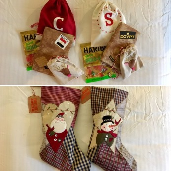 Santa Dave brought stocking for Sylvia and Cindy.