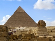 The Great Pyramid of Giza (also known as the Pyramid of Khufu or the Pyramid of Cheops) and the Sphinx