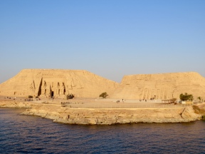 Temples at Abu Simbel from for boat as we departed on our Lake Aswan cruise.