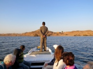 Taking a boat to visit temples on Lake Aswan