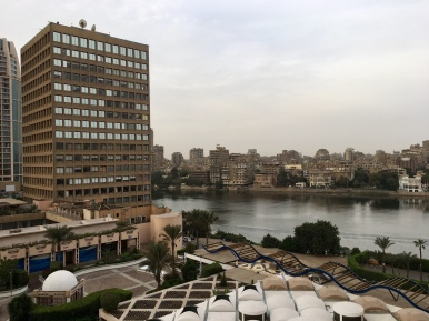 View of the Nile from my balcony at the Conrad Cairo