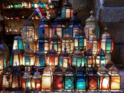The lantern shop in the Khan El Khalili Bazaar, Cairo
