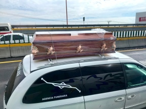 Random casket driving on the highway, Mexico City
