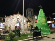 Aguas Calientes, town at the base of Machu Picchu. The Christmas tree is made of plastic bottles