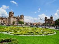 Plaza de Armas, Cusco. Cusco Cathedral and Iglesia de la Compañía de Jesús